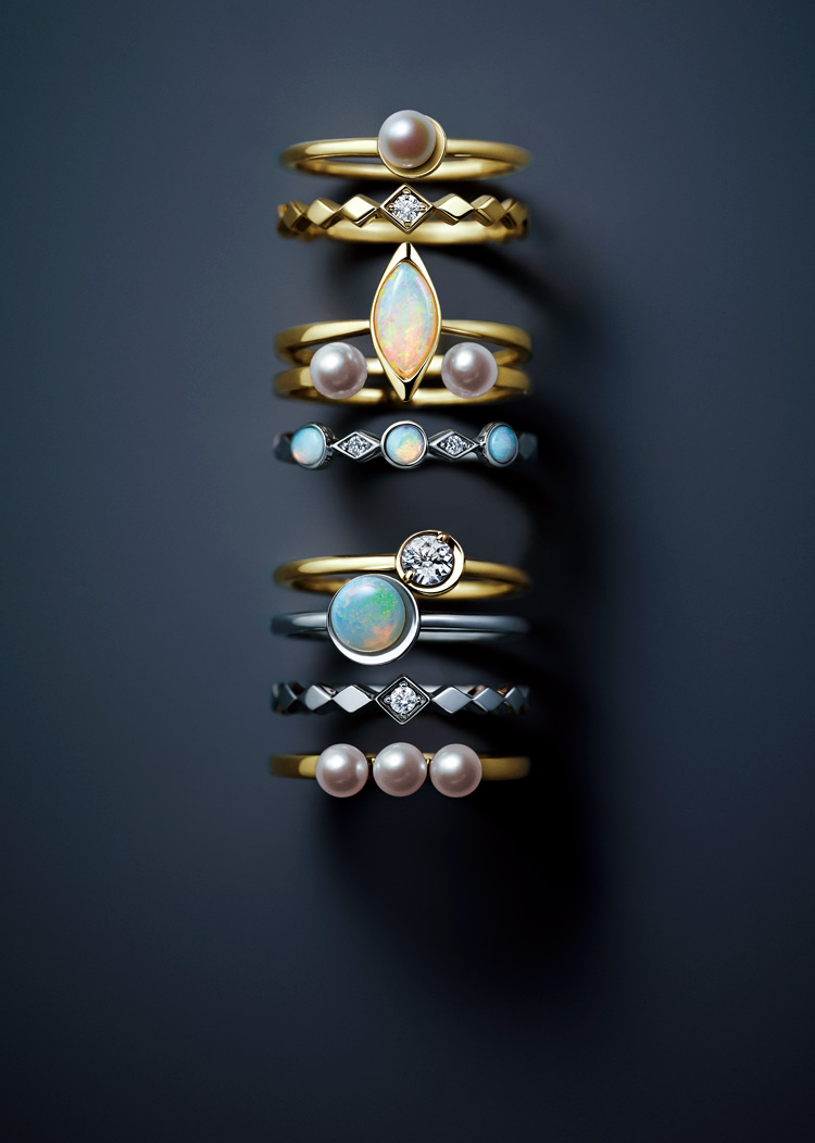 SNOW LIGHT - Stacking holiday rings -