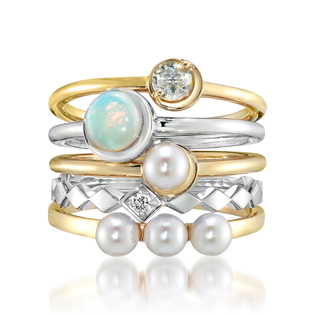 SNOW LIGHT-stacking holiday rings-